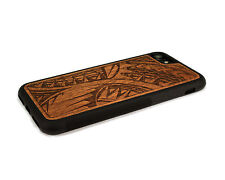 Handcrafted Wood iPhone 7 Case with Soft Rubber Sides by Nuwoods Tribal Design
