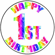 """Felice 1st COMPLEANNO COLORATI ROUND 8"""" GLASSA CAKE TOPPER-Easy peel pre-tagliati"""