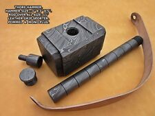 1-OF-A KIND CUSTOM HAND FORGED DAMASCUS STEEL THOR HAMMER WITH LEATHER POUCH