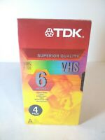 TDK Superior Quality 6 Hours VHS T-120 EP Blank Videocassette Tapes 4 Pack #A15