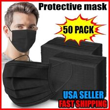 50 PACK - Black Disposable Face Mouth & Nose Mask Cover Non Medical Surgical Use