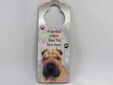 "Sharpei Wood Sign ""A Spoiled Rotten Sharpei Lives Here""with Artistic Photograph"