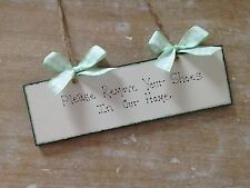 Handmade Shabby Chic Home Please Your Remove Shoes Door Sign House Warming