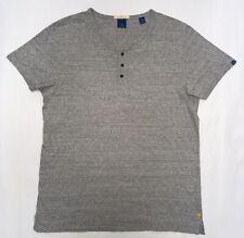 SCOTCH & SODA Men's Henley Top Size L Grey Cotton Short Sleeve Grandad Collar
