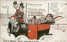 """PRINTED POLITICAL COMIC ELECTION POSTCARD """"ITS A GRAND THING HAVING A VOTE"""""""