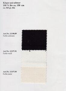 Baumwoll Köper Stoff | uni | schwer | Meterware | Stoff | Köperstoff |Seegeltuch