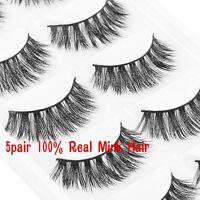New 5 Pairs 100% Mink Natural Thick False Fake Eyelashes Eye Lashes Makeup