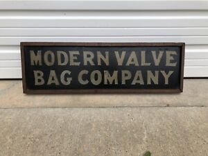 Vintage 1800's Modern Valve Bag Company Albertis PA DOUBLE SIDED Wood Trade Sign