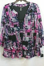 1X Style&Co Plus Floral Print Purple Pink Button Up Blouse Top Shirt  NWT