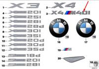 BMW X4 F26 Coffre Arrière Couvercle Badge Emblème 51148065078 8065078 Neuf Vrai