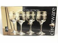 Circleware Bastille Collection Gold Rim Optic Bowl Water Goblets Glasses (4) NIB