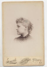 CABINET CARD YOUNG WOMAN LOOKING TO SEE WHERE SHE WENT WRONG. ALBANY, N.Y