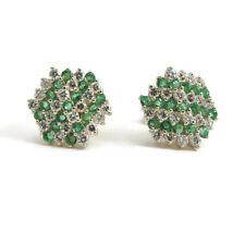Green Emerald and Diamond Stripe Stud Earrings in 14K Yellow Gold, 6.03 Grams