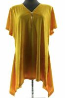 Shannon Ford New York Womens Mustard Yellow Short Sleeve V Neck Top Textured