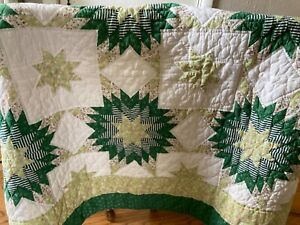 """Handmade Patchwork Quilt Green White Star Cotton Coverlet Throw 48"""" x 58"""" Nice!"""