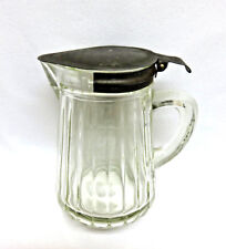 Vintage Pressed Glass Syrup / Creamer Pitcher w/ Metal Lid