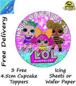 Edible LOL Round Cake Icing cupcake Topper Optional Box & 12mm Board