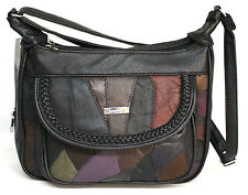 Patch Leather Multi Compartment Handbag. Adjustable Strap. Colour: Multi. 2945.