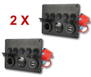 2 x 12V LED Control Switch Panel Camper Van Motorhome 5 Gang VW T5 T6 Car Boat