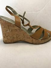 Unisa - Tenille Saddle Brown Leather Cork Wedge Sandal Shoe Size 10