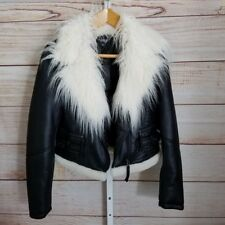 ANA Black Shaggy Faux Fur Trimmed Jacket Motorcycle Biker Women's Small NWT $90