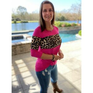 Leopard Color Block Floaty Scoop Neck 3/4 Sleeve Hot Pink S/M/L