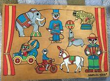 Vintage 1970s Simplex Wooden Puzzle Jigsaw, Circus Theme, Retro Design
