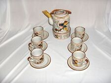 15 Pc Set Teapot Cups Saucers Candle Stand Asian Birds Branches NICE