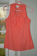 Ann Taylor LOFT Coral pink orange ruffle tiered tie neck shell blouse tank S
