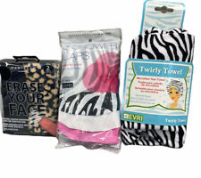 Womens Head Towel Evri Zebra Print Twirly Towel , Shower Caps & Wash Your Face !