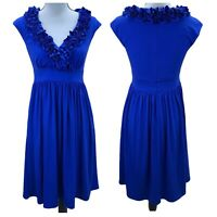 Maggy London Royal Blue Ruffle Faux Wrap Neck Knee Length Stretch Dress Womens 4