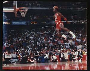 Michael Jordan HOF Signed 8x10 Photo 1988 Dunk Contest AUTO UDA COA Sticker Only