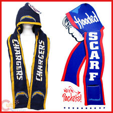 NFL San Diego Chargers Hooded Knit Scarf w/Pocket :Beanie & Scarf All in One