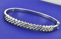 Pre owned 1.55 ct 14k Solid White Gold Natural Diamond Bangle Bracelet slant