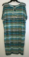 Tiana B. Size M Teal / Multi Color Print Straight Stretch Knee Length Sleeveless