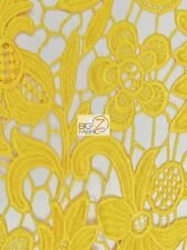 SCARLET EMBOSSED 3D FLORAL GUIPURE LACE FABRIC - Yellow - BY YARD DRESS DECOR