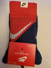 Nike crew socks , 2 pairs,  blue and red, size large