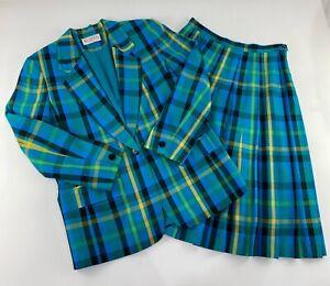 Vintage Pendleton Sophiticates Suit Jacket Skirt Blue Plaid Size 6 Petite