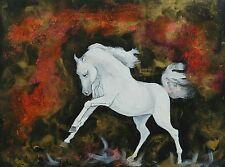 """Tableau original de Caillon 41x33cm """"RUADE """" poney cheval galop équitation"""