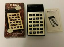 Vintage Texas Instruments Ti-1025 Memory Electronic Calculator w/ Box & Manual