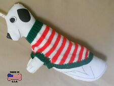 Green, red and white striped sweater for dogs-size Small-handknit in USA