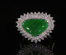 14 Karat Solid Gold Old Mind Natural Grade A Jadeite with Diamond Ring Gorgeous