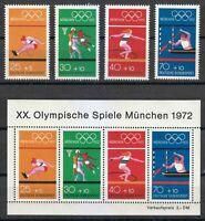 Germany 1972 MNH Mi 734-737+Block 8 Sc B490 B490 a-e 20th Olympic Games,Munich**