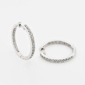 """14k White Gold Estate Inside/Out Diamond 1"""" Hoop Earrings"""