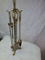 Vintage Antique Style Solid Brass Fireplace 5 Piece Tools & Stand Set