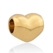 Gold Plated Love Heart Romance Charm Bead Christmas Gift fits European Bracelets