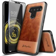 For Lg Stylo 6 Case Shockproof Leather Cover + Tempered Glass Protector