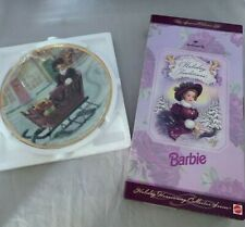 Holiday Traditions Barbie Hallmark 1996 Homecoming Collector Series Doll & Plate