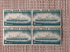 Canal Zone - 1958 - 4 Cents Greenish Blue S.S. Ancon Ship # 149 Block Of 4