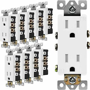 10 PACK 15A DECORATOR RECEPTACLE OUTLET, TAMPER RESISTANT 3-WIRE SELF GROUDING